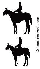 jinetes, en, caballo