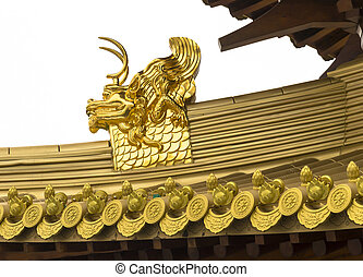 Jing An Temple Golden Dragon Heads