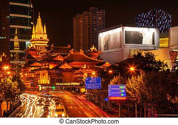 jing, shanghai, parc, nanjing, rue, porcelaine, temple