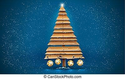 jingle., 板, 古い, 木製である, クリスマスの 休日, 木, 金