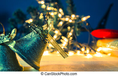 Jingle bell christmas with bokeh light background ,coss process color