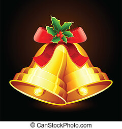 illustration of jingle bells tied with ribbon for christmas decoration