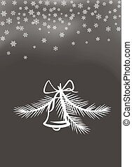 Jingle Bell with Bow and Feathers White Silhouette