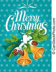 Jingle bell with fir branch Christmas card design