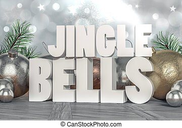 Jingle Bells 3D text with decorative elements in background
