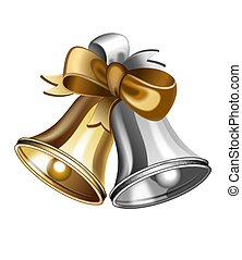 An illustration of gold and silver jingle bells