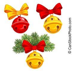 Jingle bells - Christmas jingle bells with bow and fir tree...