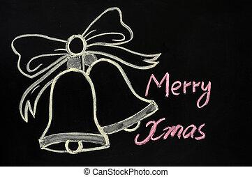 Jingle bells drawn with chalk