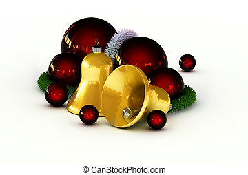 Jingle bells - Golden jingle bells with red ornaments and...