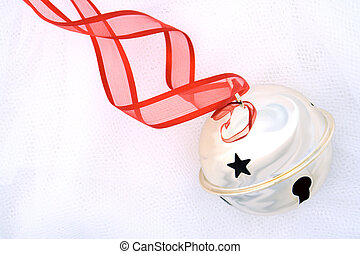 Jingle Bells - Shiny silver jingle bell with star cut-out on...