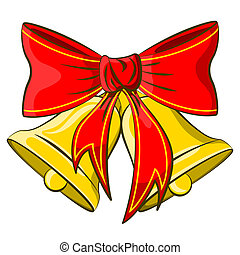Jingle bells with red bow on a white background. Vector...