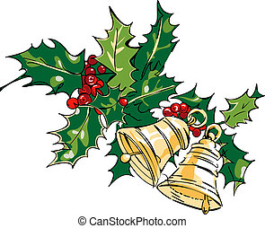 Jingle bells with red bow on a white background. Vector ...
