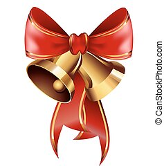 Jingle bells with red bow . Vector illustration