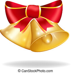 Jingle bells with red bow. Vector illustration