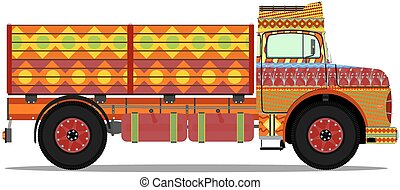Colorful cartoon jingle truck. One layer, no gradients, vector.