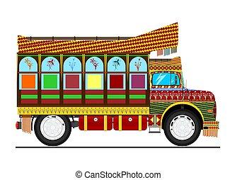 Jingle truck. Retro cartoon Indian decorated truck. Flat...