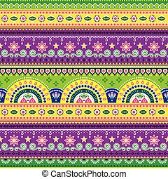 Jingle trucks pattern, Pakistani truck art seamless vector design, Indian vivid truck floral ornament with flowers abstract shapes