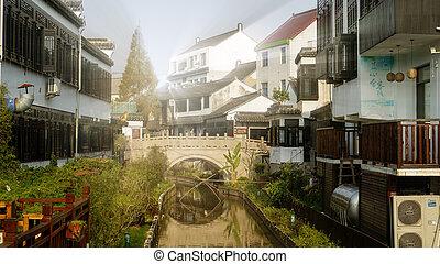 jinshanzui, sciangai, terra, pesca, costiero, villaggio, più presto