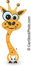 jirafa, caricatura, hilarante