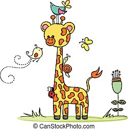 jirafa, en, jardín, con, animal, amigos