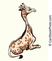 jirafa, ilustración, sentado