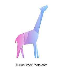 jirafa, multicolor, gradiente, rosa, azul