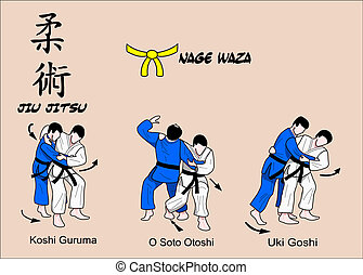 jitsu, waza, kleur, 1, jiu, nage