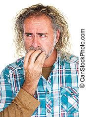 Jittery Man Biting Nails - Single isolated man in beard ...