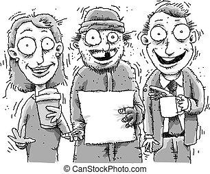 Jittery People - Three jittery, cartoon people high on ...