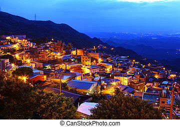 jiu, fen, vila, à noite, em, taiwan
