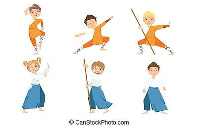 jiu, illustratie, kinderen, uniform, jongen, kunsten, krijgshaftig, schattig, meiden, jitsu, beoefenen, aikido, vector