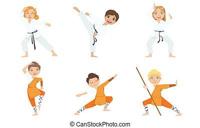 jiu, illustrazione, bambini, karate, ragazzo, arti, marziale, carino, ragazze, jitsu, bianco, chimono, attivo, arancia, vettore