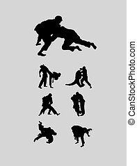 Jiu-jitsu and judo wrestlers, art vector design