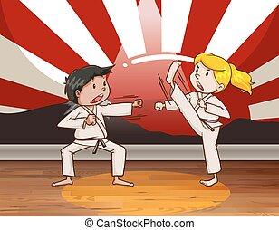 jiu jitsu, kinder, kämpfen