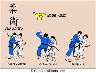 jiu, jitsu, nage, waza, 1, cor