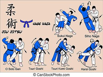 jiu, jitsu, nage, waza, 4, cor