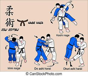 jiu, jitsu, nage, waza, 5, cor