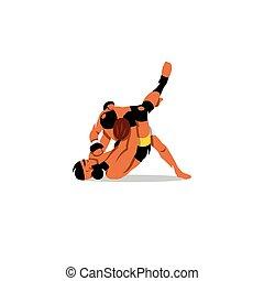 jiu jitsu, vektor, leute., illustration.