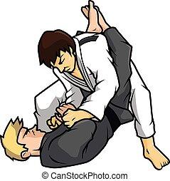 jiu, vektor, training, jitsu