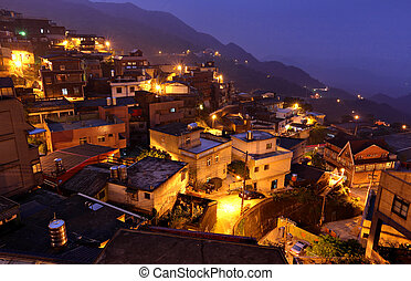 Jiufen at night , village in Taiwan