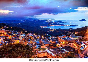 Jiufen, Taiwan - The seaside mountain town scenery in...
