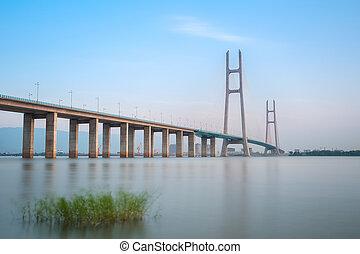 jiujiang, yangtze rivière, câble, stayed, pont