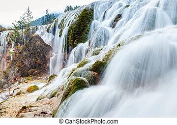 jiuzhaigou waterfall in autumn