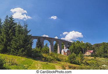 jizera, smrzovka, hory, viadukt, čech, dráha, republika