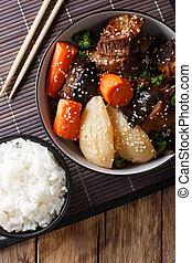 jjim, corto, verticale, manzo, costole, jim, -, o, galbi, rice., brasato, coreano, cima, kalbi, vista