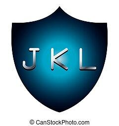 JKL alphabet font letters blue security shield symbol
