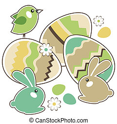 jmy(125).jpg - Seamless spring border with easter eggs,birds...