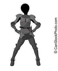 joan, arc, silhouette, illustration