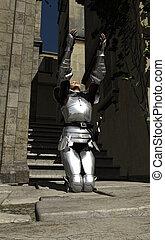 Joan of Arc - In the City - Joan of Arc kneeling in the...