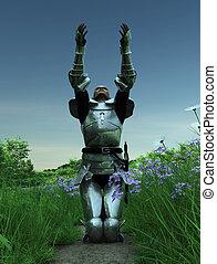 Joan of Arc - Supplication - Joan of Arc kneeling in a field...